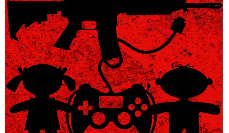 Illustration on video game violence by Alexander Hunter/The Washington Times