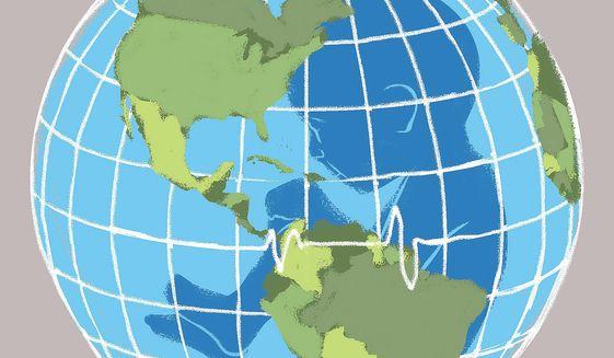 Illustration on world population growth by Linas Garsys/The Washington Times