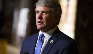 Rep. Michael McCaul, R-Texas, talks with reporters after a meeting with President-elect Donald Trump at Trump Tower, Tuesday, Nov. 29, 2016, in New York. (AP Photo/Evan Vucci)