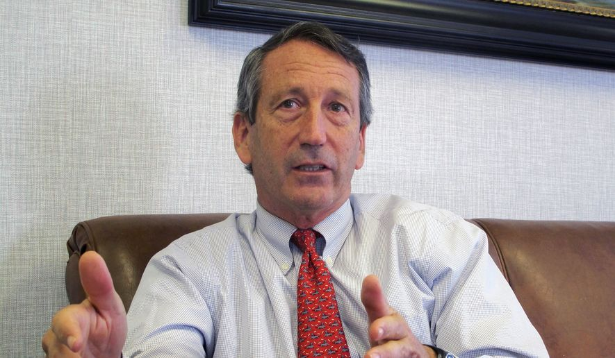 In this Dec. 18, 2013, file photo, then-U.S. Rep. Mark Sanford, R-S.C., discusses his first months back in Congress during an interview in Mount Pleasant, S.C. (AP Photo/Bruce Smith, File)