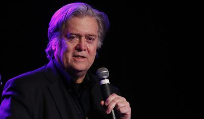 Steve Bannon, the former chief strategist to President Donald Trump, speaks at the Macomb County Republican Party dinner in Warren, Mich., Wednesday, Nov. 8, 2017.  South Carolina Gov. Henry McMaster will be joining two of his primary challengers at an event later this week honoring Bannon, his campaign confirmed to The Associated Press on Wednesday.(AP Photo/Paul Sancya)