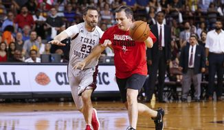 Sen. Ted Cruz dribbles past talk show host Jimmy Kimmel during the Blobfish Basketball Classic and one-on-one interview at Texas Southern University's Health & Physical Education Arena Saturday, June 16, 2018, in Houston. Cruz challenged Kimmel to the game after Kimmel blamed the Houston Rockets playoff loss on the senator. Cruz won 11-9. (Michael Ciaglo/Houston Chronicle via AP)  ** FILE **