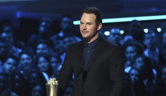 In this Saturday, June 16, 2018, photo, Chris Pratt accepts the generation award at the MTV Movie and TV Awards at the Barker Hangar in Santa Monica, Calif. (Photo by Matt Sayles/Invision/AP)