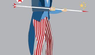 Illustration on balancing North Korea and China in coming negotiations by Linas GArsys/The Washington Times
