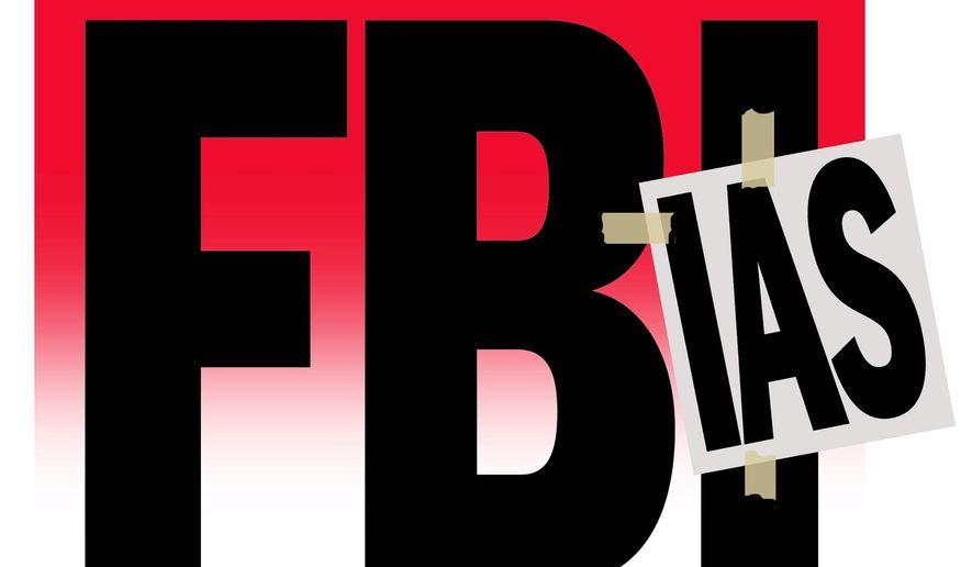 Illustration on bias at the FBI by Alexander Hunter/The Washington Times