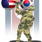 Illustration on U.S./ROK military exercizes by Alexander Hunter/The Washington Times