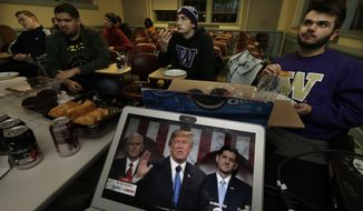 Members of the College Republicans at the University of Washington eat pizza and other snacks as they watch a broadcast of President Donald Trump as he gives his State of the Union speech during an on-campus viewing party, Tuesday, Jan. 30, 2018, in Seattle. (AP Photo/Ted S. Warren)