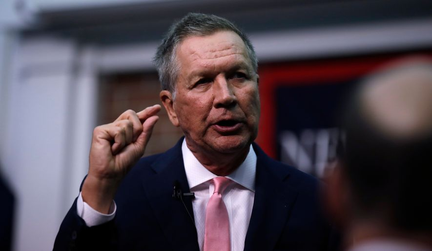 """""""Quit separating families. It's that simple,"""" said Ohio Gov. John Kasich, who has been inching toward a 2020 challenge to President Trump. (Associated Press)"""
