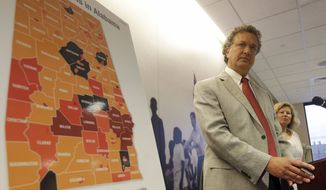 In this file photo, Southern Poverty Law Center President Richard Cohen discusses a SPLC federal lawsuit against the Alabama Accountability Act during a press conference in Montgomery, Ala., Monday, Aug. 19, 2013.  (AP Photo/Dave Martin) **FILE**