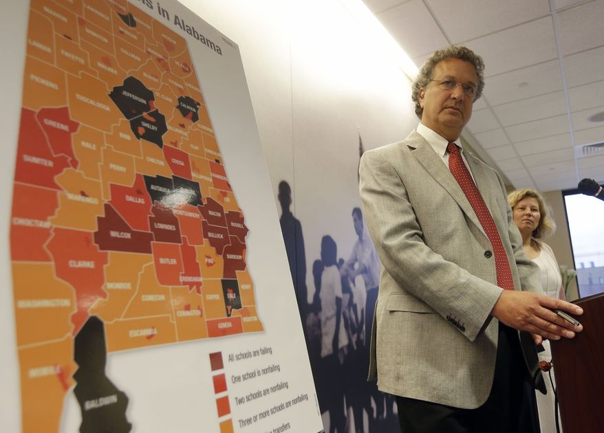 In this file photo, Southern Poverty Law Center President Richard Cohen discusses a SPLC federal lawsuit against the Alabama Accountability Act during a press conference in Montgomery, Ala., Monday, Aug. 19, 2013.  (AP Photo/Dave Martin) ** FILE **
