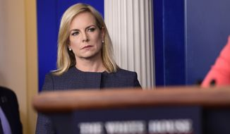 Department of Homeland Security Secretary Kirstjen Nielsen waits to speak during the daily briefing at the White House in Washington, Monday, June 18, 2018. (AP Photo/Susan Walsh)