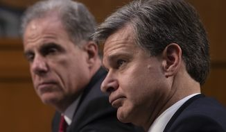 FBI Director Christopher Wray, with Justice Department Inspector General Michael Horowitz, left, testifies as the Senate Judiciary Committee examines the internal report of the FBI's Clinton email probe and the role of former FBI Director James Comey's actions during the 2016 presidential campaign, on Capitol Hill in Washington, Monday, June 18, 2018. (AP Photo/J. Scott Applewhite)