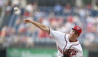 Washington Nationals starting pitcher Erick Fedde delivers a pitch during the first inning of a baseball game against the New York Yankees, Monday, June 18, 2018, in Washington. This game is a makeup of a postponed game from May 16. (AP Photo/Nick Wass)