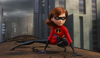 """This image released by Disney Pixar shows the character Helen/Elastigirl, voiced by Holly Hunter in """"Incredibles 2."""" (Disney/Pixar via AP)"""