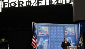 U.S. Secretary of State Mike Pompeo speaks at an Economic Club of Detroit luncheon at Ford Field in Detroit, Monday, June 18, 2018. (AP Photo/Paul Sancya)