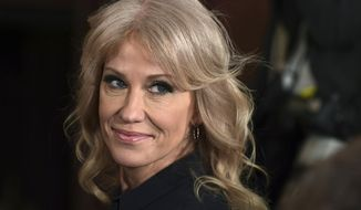 In this March 6, 2018, file photo, White House counselor Kellyanne Conway attends a news conference in the East Room of the White House in Washington. (AP Photo/Susan Walsh, File)