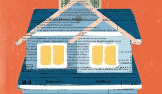 Illustration on mortgages and the new tax law by Linas Garsys/The Washington Times