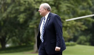 White House Deputy Chief of Staff for Operations Joe Hagin walks to the White House as he arrives on the South Lawn, Monday, Aug. 14, 2017, in Washington. Schiller is returning with President Donald Trump, who is returning from a vacation to Bedminster, N.J. (AP Photo/Alex Brandon)