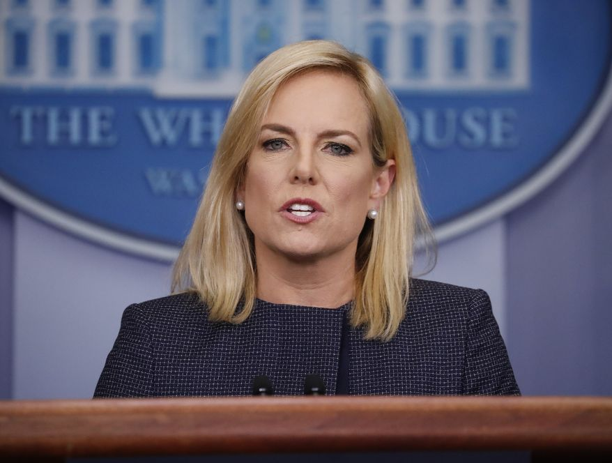 Homeland Security Secretary Kirstjen Nielsen speak to the media during the daily briefing in the Brady Press Briefing Room of the White House, Monday, June 18, 2018. (AP Photo/Pablo Martinez Monsivais)