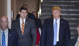 Speaker of the House Paul Ryan, R-Wis., left, walks with President Donald Trump as they head to a meeting of House Republicans to discuss a GOP immigration bill at the Capitol in Washington, Tuesday, June 19, 2018. (AP Photo/J. Scott Applewhite)