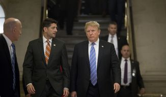 President Donald Trump, accompanied by House Speaker Paul Ryan of Wis., arrives on Capitol Hill in Washington, Tuesday, June 19, 2018, to rally Republicans around a GOP immigration bill.  (AP Photo/Andrew Harnik) ** FILE **