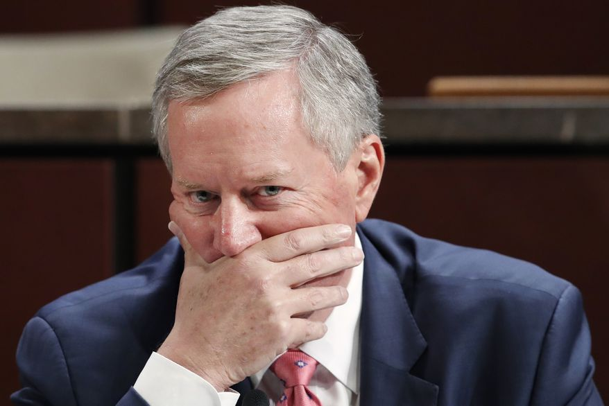 Rep. Mark Meadows, R-N.C., listens during questioning of Department of Justice Inspector General Michael Horowitz during a joint House Committee on the Judiciary and House Committee on Oversight and Government Reform hearing examining Horowitz's report of the FBI's Clinton email probe, on Capitol Hill, Tuesday, June 19, 2018 in Washington. (AP Photo/Jacquelyn Martin) ** FILE **