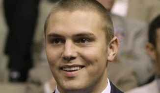 FILE -This Sept. 3, 2008, file photo shows Track Palin, son of Sarah Palin during the Republican National Convention in St. Paul, Minn. Track Palin was formally accepted into a diversion court program Tuesday, June 19, 2018, after assaulting his father, the former first gentleman of the state of Alaska, so severely it left him bleeding from the head. Palin plead guilty to misdemeanor criminal trespassing after breaking into the family home north of Anchorage last December. (AP Photo/Charles Rex Arbogast, File)