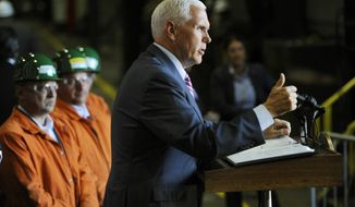 Vice President Mike Pence speaks to employees of Nucor Steel Auburn Inc. after a tour of the facility in Auburn, N.Y., Tuesday, June 19, 2018. (AP Photo/Adrian Kraus)