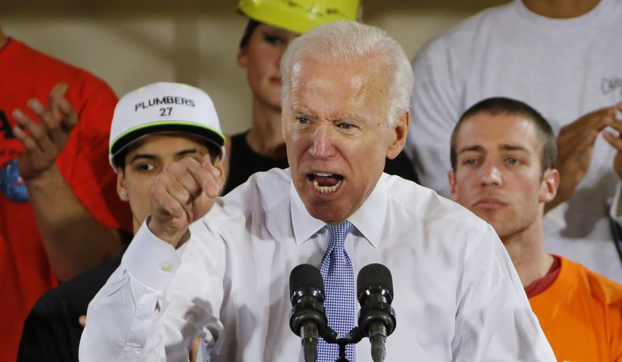 In this March 6, 2018 file photo, former Vice President Joe Biden speaks at a rally in Collier, Pa. Biden is endorsing Georgia Democratic gubernatorial hopeful Stacy Abrams in Atlanta, Wednesday, June 20. (AP Photo/Gene J. Puskar, File)