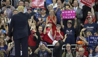 President Donald Trump waves to the crowd after speaking at a campaign rally Wednesday, June 20, 2018, in Duluth, Minn. The campaign rally in Duluth was Trump's first in a blue state since taking office. He narrowly lost Minnesota in 2016, just missing becoming the first Republican to capture the traditionally Democratic state since 1972. And with the industrial and upper Midwest looming large for Trump's re-election hopes, the president vowed to spend more time there before 2020.  (AP Photo/Jim Mone)