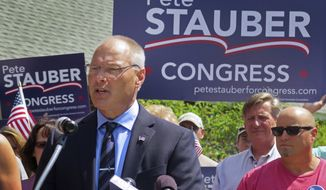 In this Monday, July 10, 2017, file photo, St. Louis County Commissioner and Duluth Police Lt. Pete Stauber announces that he will seek the Republican endorsement in the race to represent Minnesota's 8th Congressional District in 2018 at an event in Hermantown, Minn. (Dan Kraker/Minnesota Public Radio via AP, File)