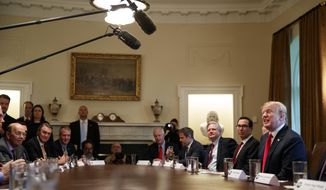 President Donald Trump speaks during a meeting with Republican members of Congress on immigration in the Cabinet Room of the White House, Wednesday, June 20, 2018, in Washington. (AP Photo/Evan Vucci)