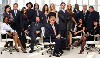 """Then-reality TV star Donald Trump appears with his famous guests in a publicity photo for NBC's """"The Celebrity Apprentice"""" in 2008. (ASSOCIATED PRESS)"""