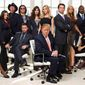 "Then-reality TV star Donald Trump appears with his famous guests in a publicity photo for NBC's ""The Celebrity Apprentice"" in 2008. (ASSOCIATED PRESS)"