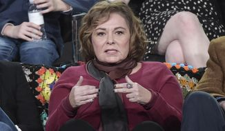 "Roseanne Barr participates in the ""Roseanne"" panel during the Disney/ABC Television Critics Association Winter Press Tour on Monday, Jan. 8, 2018, in Pasadena, Calif. (Photo by Richard Shotwell/Invision/AP)"