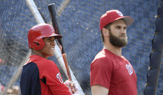 Washington Nationals' Juan Soto, left, stands next to Bryce Harper, right, during batting practice before a baseball game against the San Diego Padres, Monday, May 21, 2018, in Washington. (AP Photo/Nick Wass) **FILE**