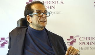FILE - In this March 31, 2015 file photo,  Charles Krauthammer talks about getting into politics during a news conference in Corpus Christi, Texas.   The Fox News contributor and syndicated columnist says he has only a few weeks to live because of an aggressive form of cancer. Krauthammer disclosed his doctors prognosis in a letter released Friday, June 8, 2018  to colleagues, friends and viewers. Krauthammer wrote that he underwent surgery in August to remove a cancerous tumor in his abdomen.   (Gabe Hernandez/Corpus Christi Caller-Times via AP)