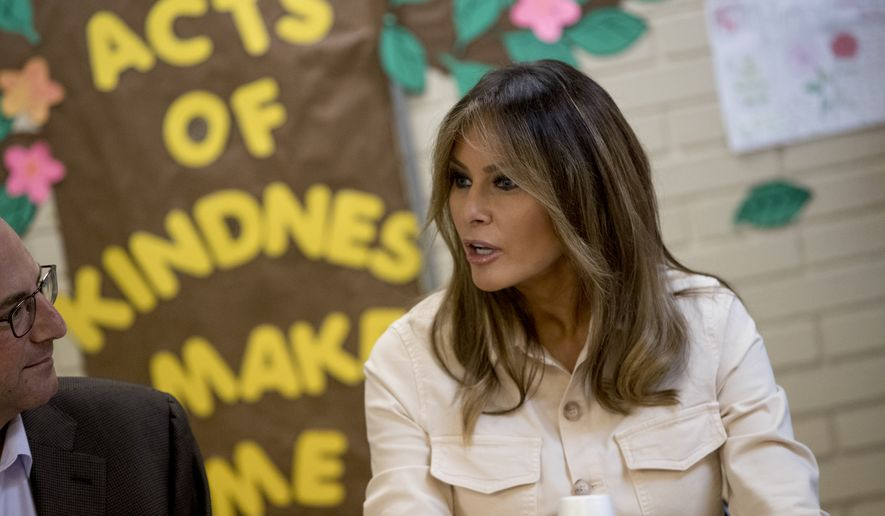 First lady Melania Trump speaks at a roundtable at Upbring New Hope Children Center run by the Lutheran Social Services of the South in McAllen, Texas, Thursday, June 21, 2018. (AP Photo/Andrew Harnik)