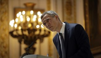 Jens Stoltenberg, the Secretary General of NATO, listens to a question after delivering a pre-NATO summit speech at Lancaster House in London, Thursday, June 21, 2018. The secretary-general of NATO says bonds between Europe and North America have weakened, and he appealed for an international effort to shore up the trans-Atlantic military alliance. (AP Photo/Matt Dunham)