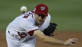 Washington Nationals starting pitcher Max Scherzer (31) throws during the fourth inning of the team's baseball game against the Baltimore Orioles at Nationals Park, Thursday, June 21, 2018, in Washington. (AP Photo/Carolyn Kaster)