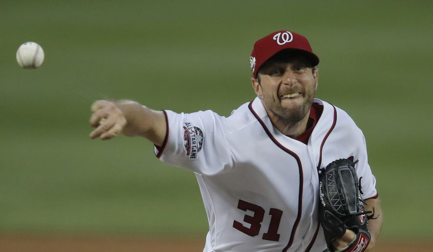 Washington Nationals starting pitcher Max Scherzer (31) throws during the fourth inning of the team's baseball game against the Baltimore Orioles at Nationals Park, Thursday, June 21, 2018, in Washington. (AP Photo/Carolyn Kaster) **FILE**