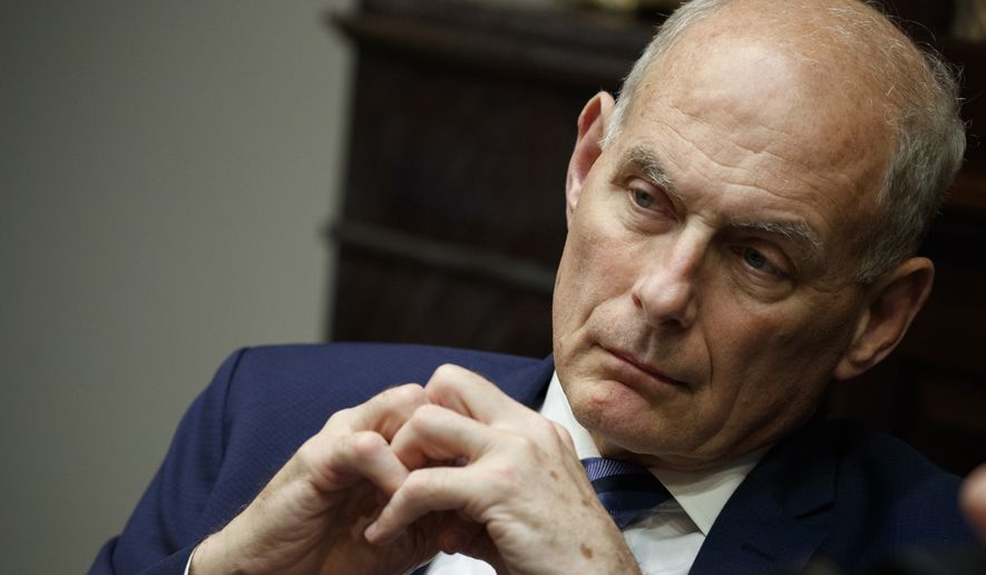 White House chief of staff John Kelly listens as President Donald Trump speaks during a lunch with governors in the Roosevelt Room of the White House, Thursday, June 21, 2018, in Washington. (AP Photo/Evan Vucci)