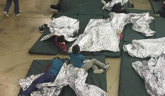 In this Sunday, June 17, 2018, file photo provided by U.S. Customs and Border Protection, people who've been taken into custody related to cases of illegal entry into the United States, rest in one of the cages at a facility in McAllen, Texas. (U.S. Customs and Border Protection's Rio Grande Valley Sector via AP, File)