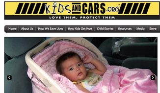 A screen capture of the KidsandCars.org website. The child-safety organization encourages parents to be wary of the dangers of injury or death to children from being accidentally left in a car in hot weather. (KidsandCars.org)