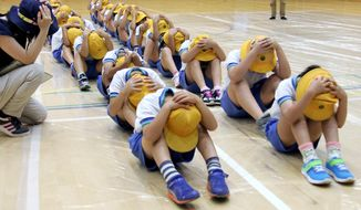 In this July 14, 2017, photo, elementary school students participate in an evacuation drill in Takaoka, Toyama prefecture, northwest of Tokyo, following repeated missile launches by North Korea. Cabinet Secretariat in charge of crisis management said Thursday, June 21, 2018, Japan plans to suspend civilian evacuation drills planned for the rest of the year amid easing tension following the U.S.-North Korea summit. (Kyodo News via AP)