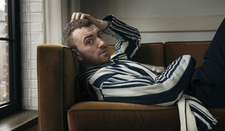 """FILE - In this Nov. 2, 2017 file photo, musician Sam Smith poses for a portrait in New York to promote his latest album, """"The Thrill of It All.""""   Smith, who launched the North American leg of his tour this week, says though his past shows have been melancholy, his new ones are all about love. (Photo by Victoria Will/Invision/AP, File)"""