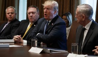 President Donald Trump speaks during a cabinet meeting at the White House, Thursday, June 21, 2018, in Washington. From left, Deputy Secretary of Interior David Bernhardt, Secretary of State Mike Pompeo, Trump, and Secretary of Defense Jim Mattis. (AP Photo/Evan Vucci)