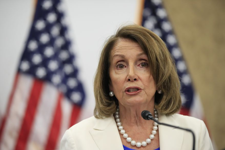 House Minority Leader Nancy Pelosi, D-Calif., speaks during a news conference about the tax cut on Capitol Hill in Washington, Friday, June 22, 2018. (AP Photo/Manuel Balce Ceneta)