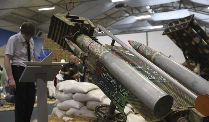 Rocket launchers captured from the rebels in Syria are displayed during a briefing by Russian Foreign and Defense Ministries in Kubinka Patriot park outside Moscow, Russia, Friday, June 22, 2018. (AP Photo) ** FILE **