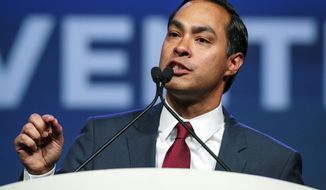 Julian Castro speaks at the start of the general session at the Texas Democratic Convention Friday, June 22, 2018, in Fort Worth, Texas. (AP Photo/Richard W. Rodriguez)